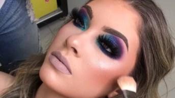 Sombra Azul Com Esfumado Roxo Para Formatura, Veja Que Linda Inspiração!