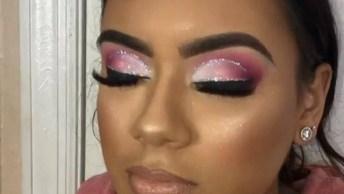 Sombra Branca E Rosa Com Detalhe Em Glitter, Você Vai Se Apaixonar!