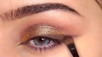 Sombra Cintilante Marrom Com Detalhe Dourado, Simplesmente Perfeito!