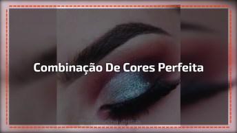 Sombra Com Detalhe Marrom E Azul, Ficou Legal A Combinação De Cores!
