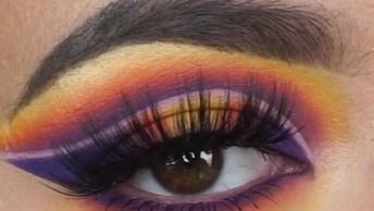 Sombra Com Esfumado Lilas Com Laranja E Amarelo, Com Lindo Efeito Arco-Iris!