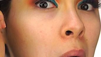 Sombra Com Esfumado Marrom, Lilas E Azul E Verde, Olha Só Que Linda!