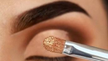 Sombra Esfumada De Marrom E Detalhes Dourados, Fica Incrível!