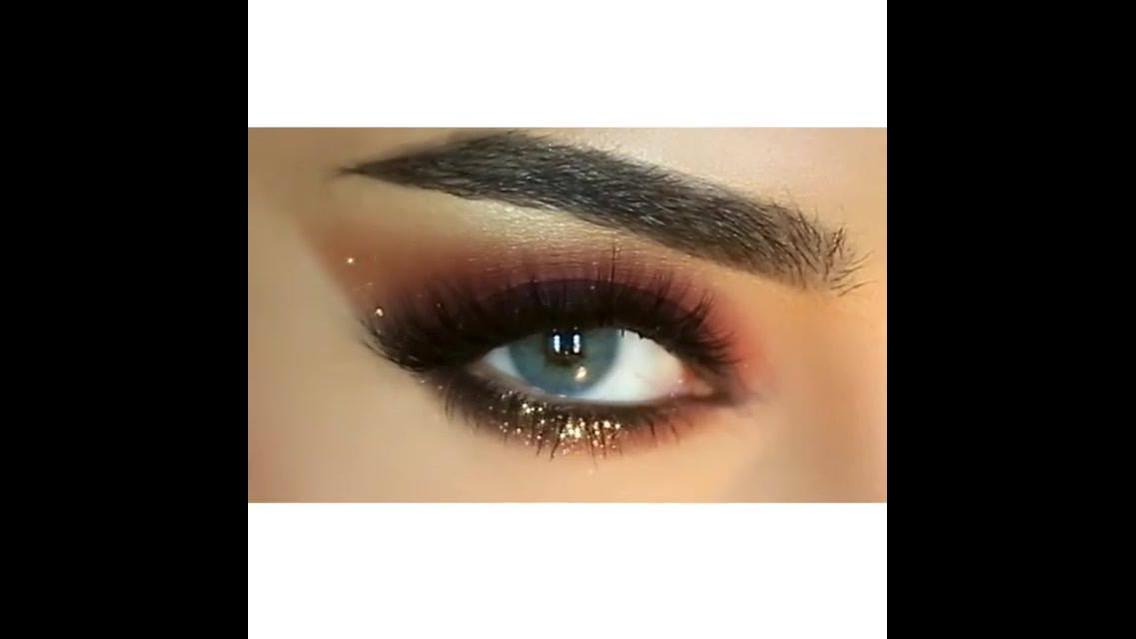 Sombra marrom delineado na parte superior e inferior dos olhos com Glitter!!!