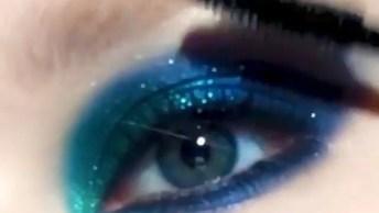 Sombras Com Brilho Nos Tons Azul, Verde E Amarelo, Simplesmente Lindas!