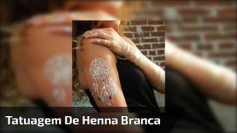 Tatuagem De Henna Branca Com Aplicação De Pedras, Olha Só Que Linda!