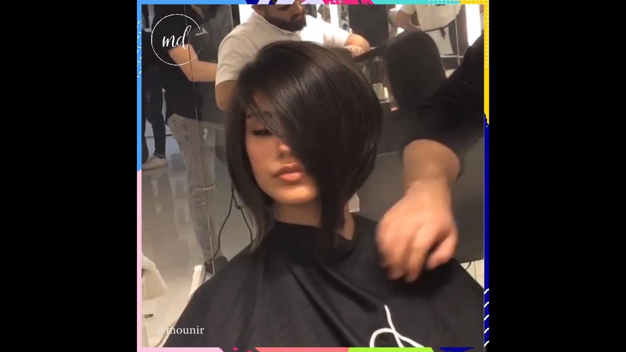 Transformação de cabelo com corte