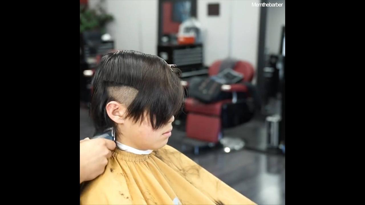 Transformação de cabelo de garoto