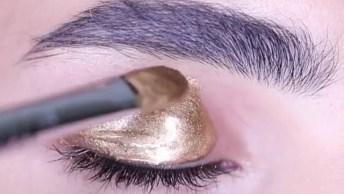 Tutorial De Como Fazer Uma Linda Sombra Dourada, Com Gloss E Purpurina!