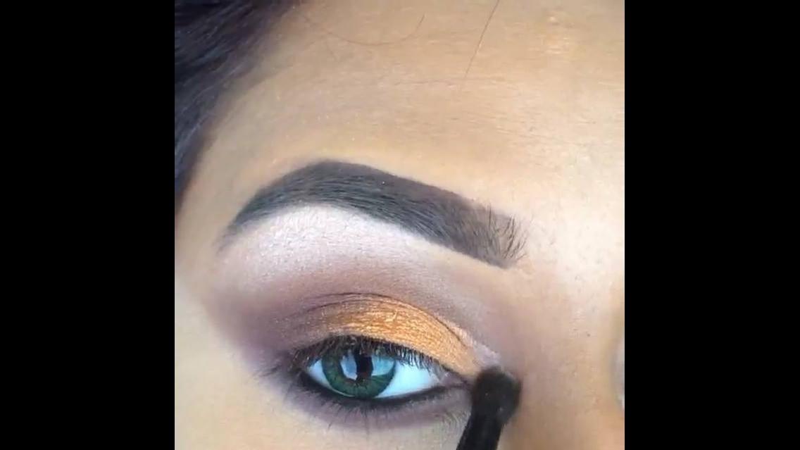 Tutorial de de sombra marrom com laranja e delineado