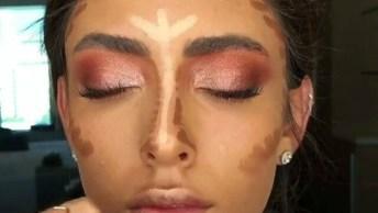 Tutorial De Maquiagem Com Completo Com Sombra Rosada Cintilante E Contorno!