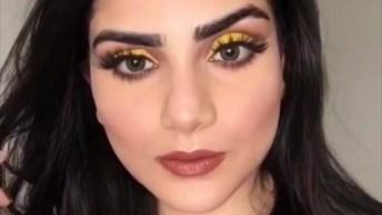 Tutorial De Maquiagem Com Sombra Amarela, Maravilhosa, Vale A Pena Conferir!