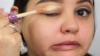 Tutorial De Maquiagem Com Sombra Com Delineado E Detalhe Com Glitter Dourado!!