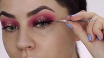Tutorial De Maquiagem Com Sombra Vermelha Com Toque De Pigmento!