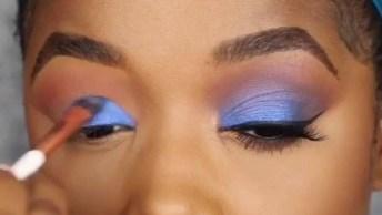 Tutorial De Maquiagem Para Pele Negra, Com Sombra Azul, Confira!