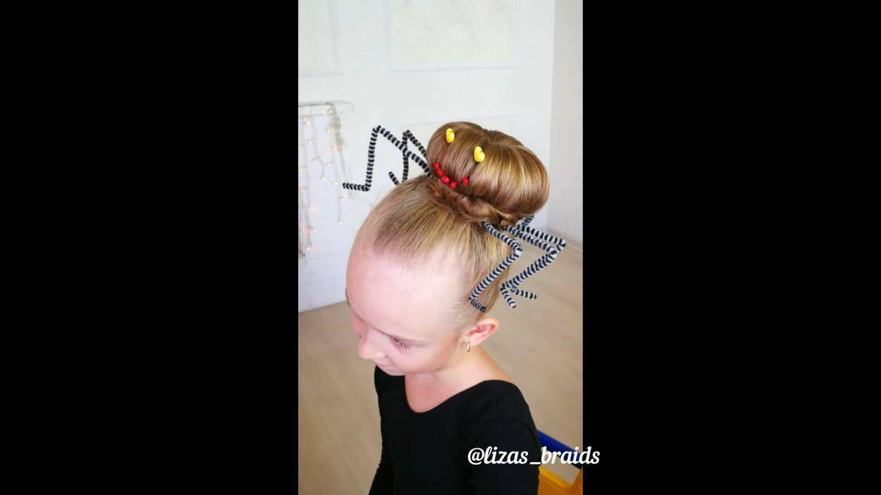 Tutorial de penteado de aranha para Halloween para meninas