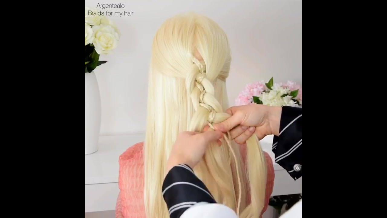 Tutorial de penteado para cabelos longos com trança semi-preso