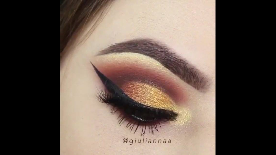 Tutorial de sombra marrom e dourada para os olhos, simplesmente perfeito!!!