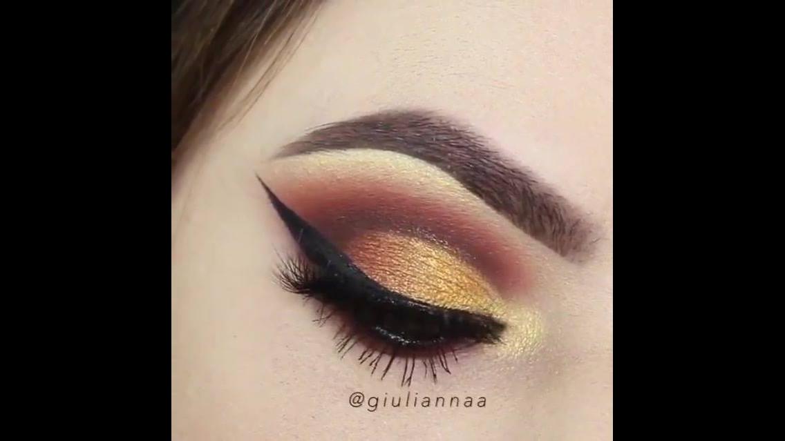 Tutorial de sombra marrom e dourada para os olhos