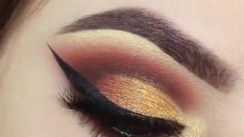 Tutorial De Sombra Marrom E Dourada Para Os Olhos, Simplesmente Perfeito!