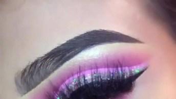 Tutorial De Sombra Rosa Com Aplicação De Glitter Furta-Cor!