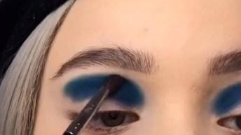 Tutorial De Sombra Super Estilosa Com Esfumado Azul E Desenho!