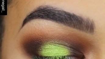 Tutorial De Sombra, Veja Que Cor Linda Verde Limão, Ela Ficou Maravilhosa!