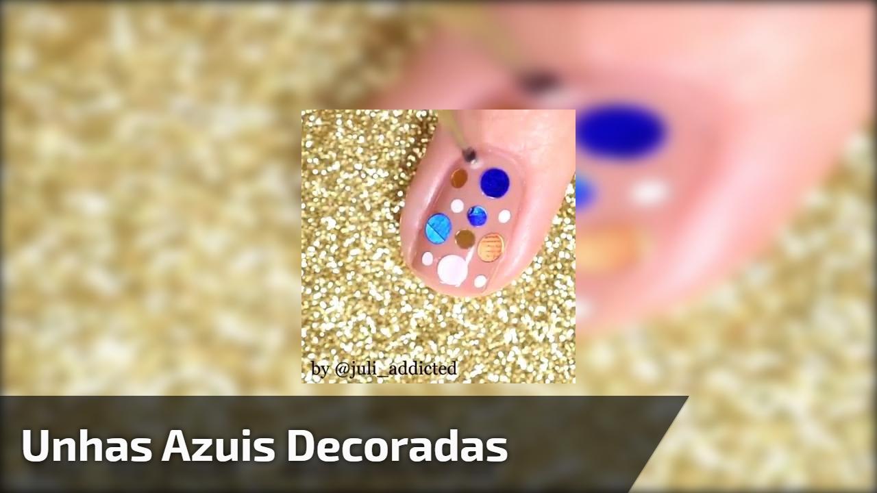 Tutorial de unhas azuis decoradas, muito lindas e fáceis de fazer!