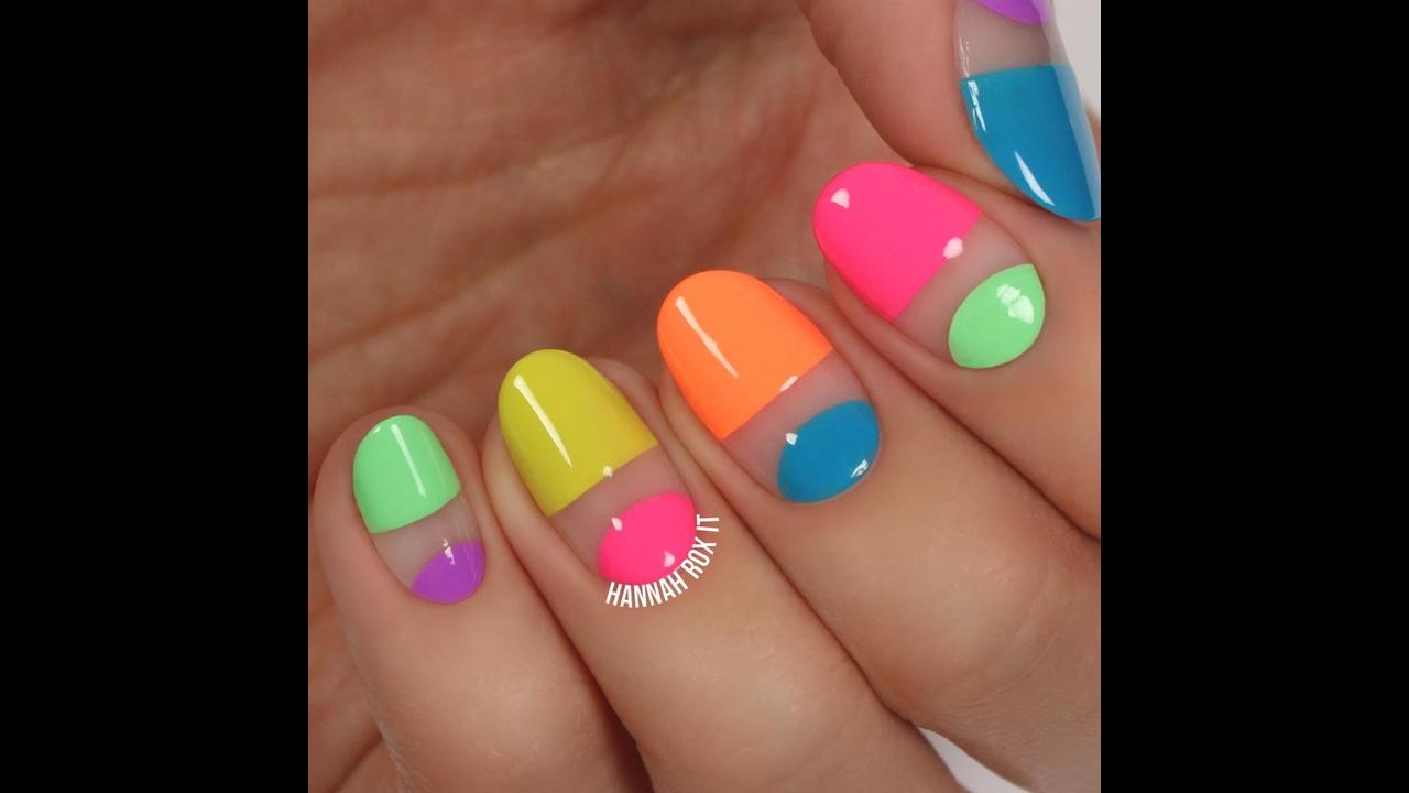 Tutorial de unhas coloridas