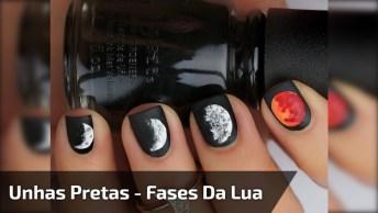 Tutorial De Unhas Com Esmalte Preto E Desenhos De Luas, Confira!