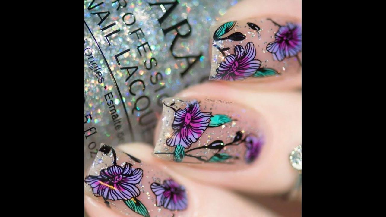 Tutorial de unhas com Glitter e decoradas com flor, simplesmente perfeita!!!
