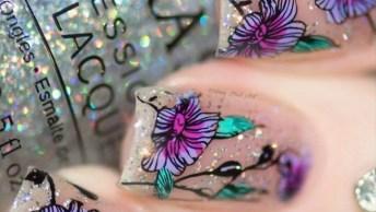 Tutorial De Unhas Com Glitter E Decoradas Com Flor, Simplesmente Perfeita!