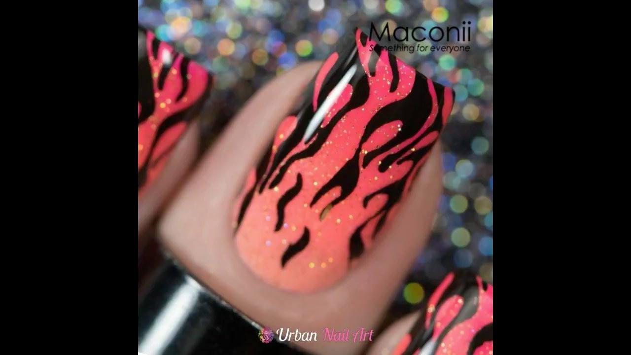 Tutorial de unhas decoradas com desenhos de chamas