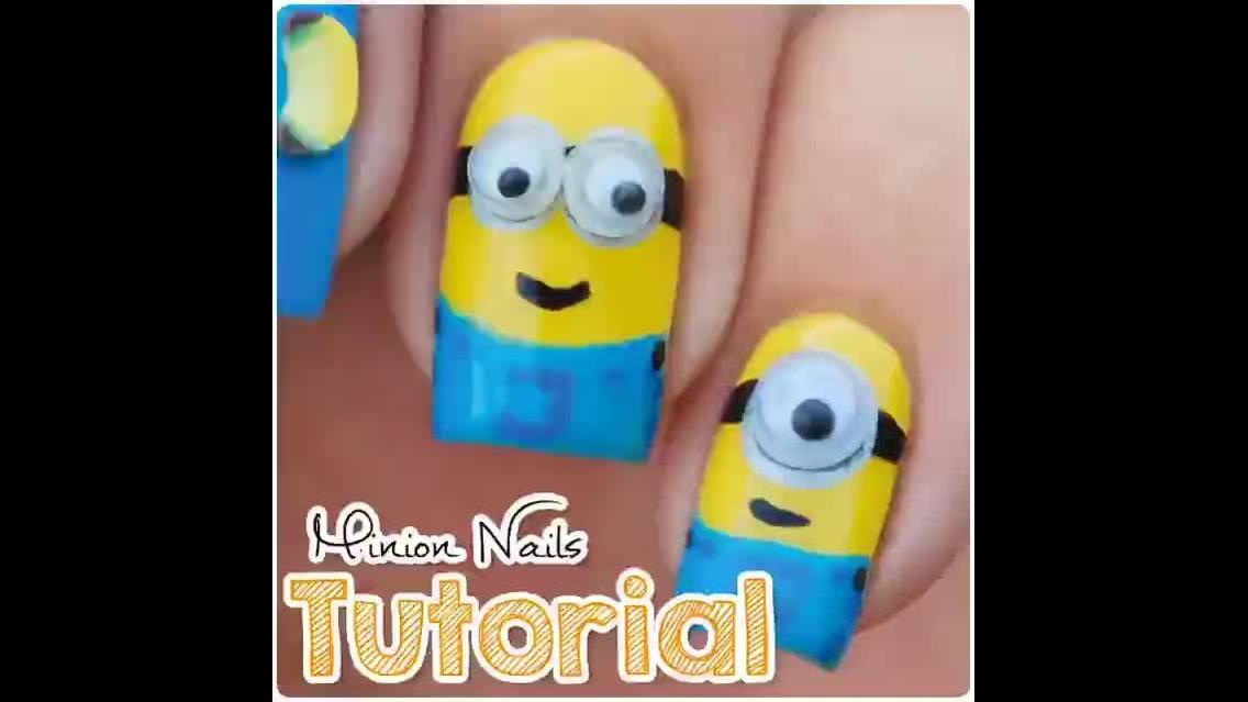 Tutorial de unhas decoradas com os Minions, olha só que lindinho!!!
