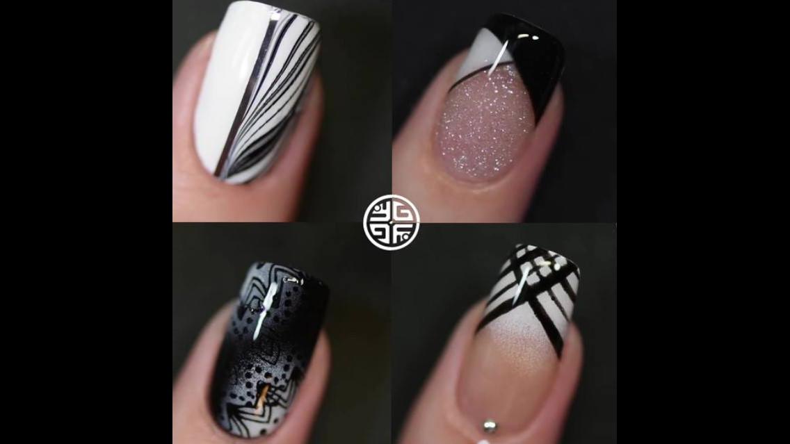 Tutorial de unhas decoradas em tons de preto
