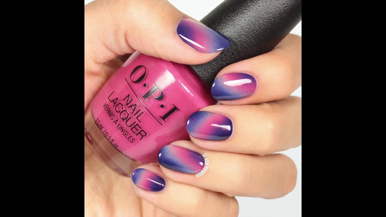 Tutorial de unhas em degrade na cor lilás e rosa