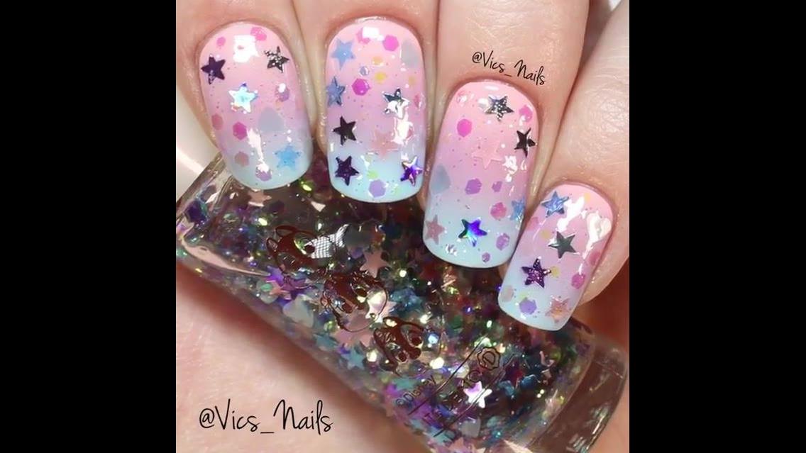 Tutorial de unhas lindas para te inspirar! Veja quanta cor, e brilho!!!