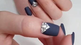 Unha Azul Marinho Com Esmalte Fosco, Olha Só Que Coisa Mais Linda!