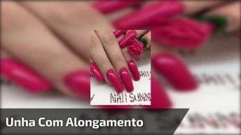 Unha Com Alongamento, Esmalte Rosa E Aplicação De Rosa Em 3D De Gel!