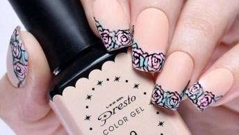 Unha Com Esmalte Bege E Francesinha Com Desenhos De Rosas Feitos A Mão!
