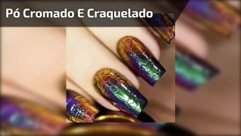 Unha Com Esmalte Preto Craquelado, E Aplicação De Pó Cromado Por Cima!!!