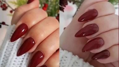 Unha Com Esmalte Vermelho E Formato Stiletto, Uma Perfeita Combinação!