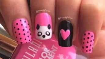 Unha Decorada Com Ursinho Panda, Super Fofa E Fácil De Fazer!