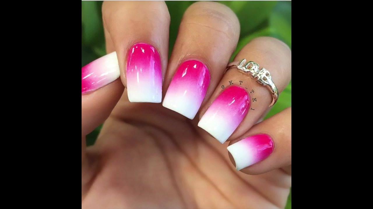 Unha degradê na cor rosa e branca