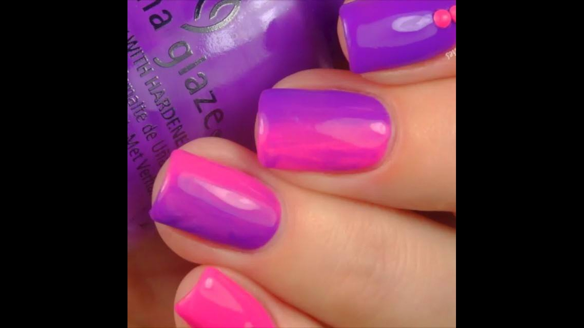 Unhas com cores rosa e lilás