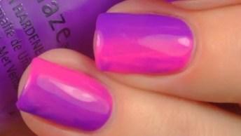Unhas Com Cores Rosa E Lilás, Fica Muito Lindo E Diferente!