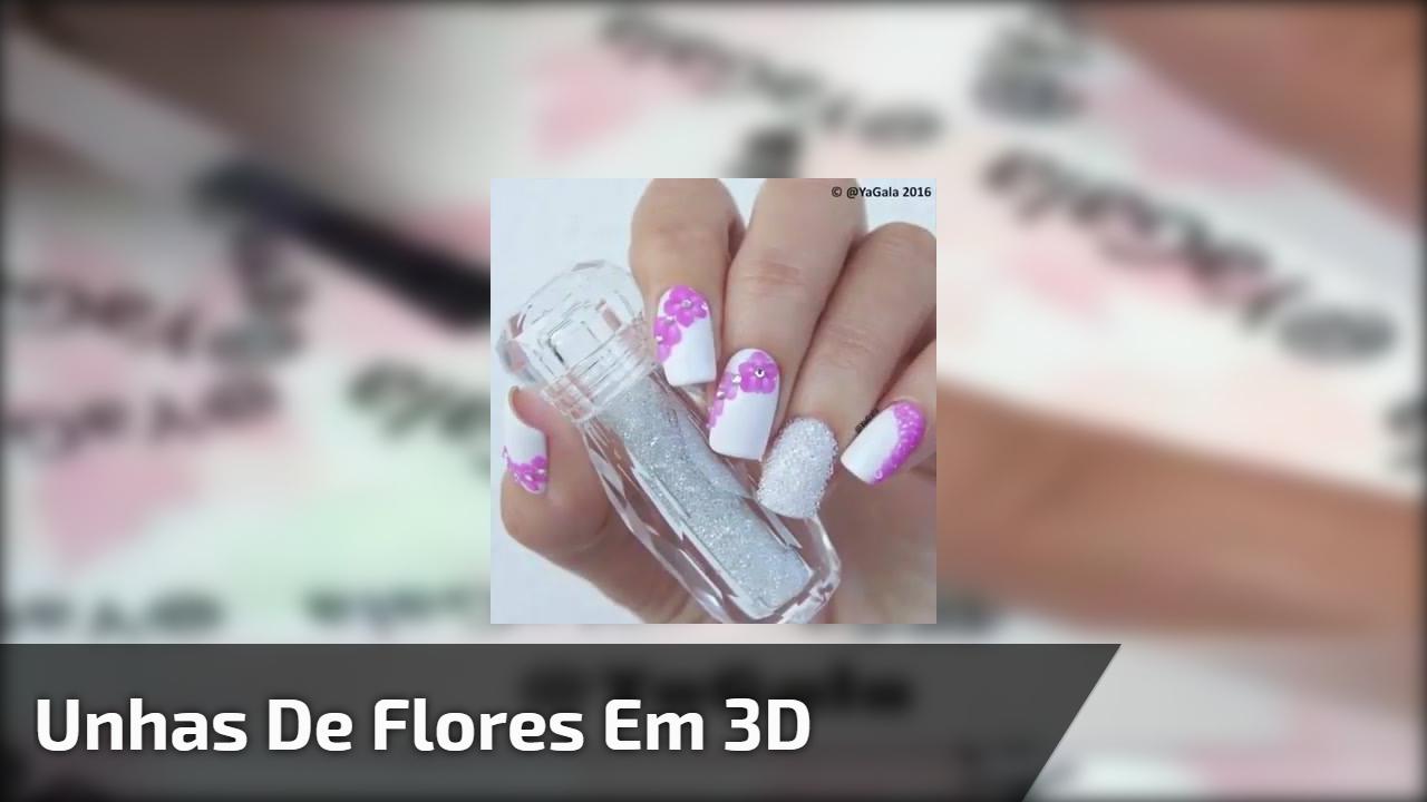 Unhas de flores em 3D