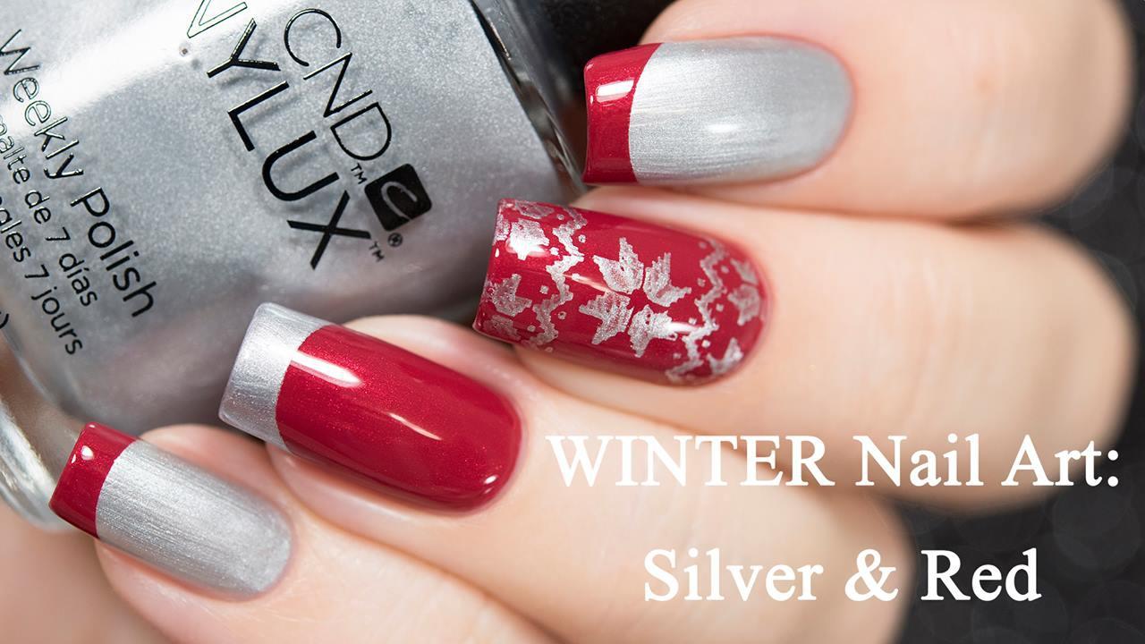 Unhas decorada com tema natalino vermelha e prata