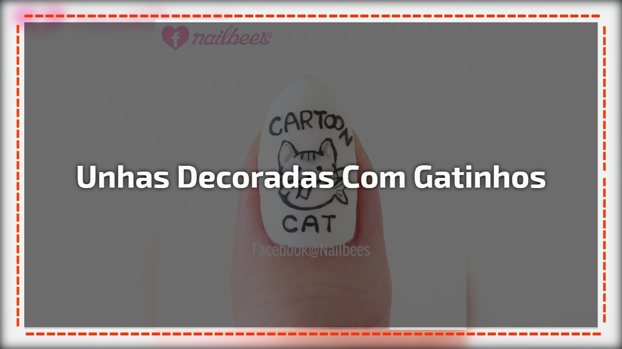 Unhas decoradas com gatinhos