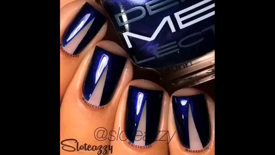 Unhas simples e fácil de fazer na cor azul